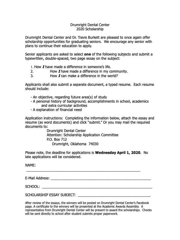 Scholarship Form Image